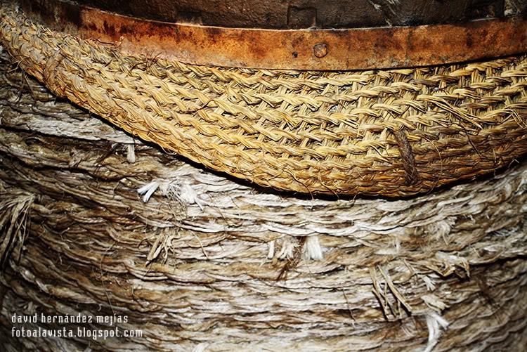 Detalle de una prensa de aceite, con los capachos utilizados en la recogida y colocados en la prensa para la obtención del aceite. Realizada en el Museo del Aceite de Úbeda, Jaen