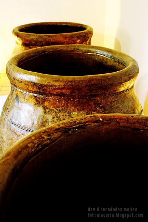 Tres tinajas que contuvieron en su día aceite, permanecen en pie en el Museo del Aceite de Baeza, Jaén