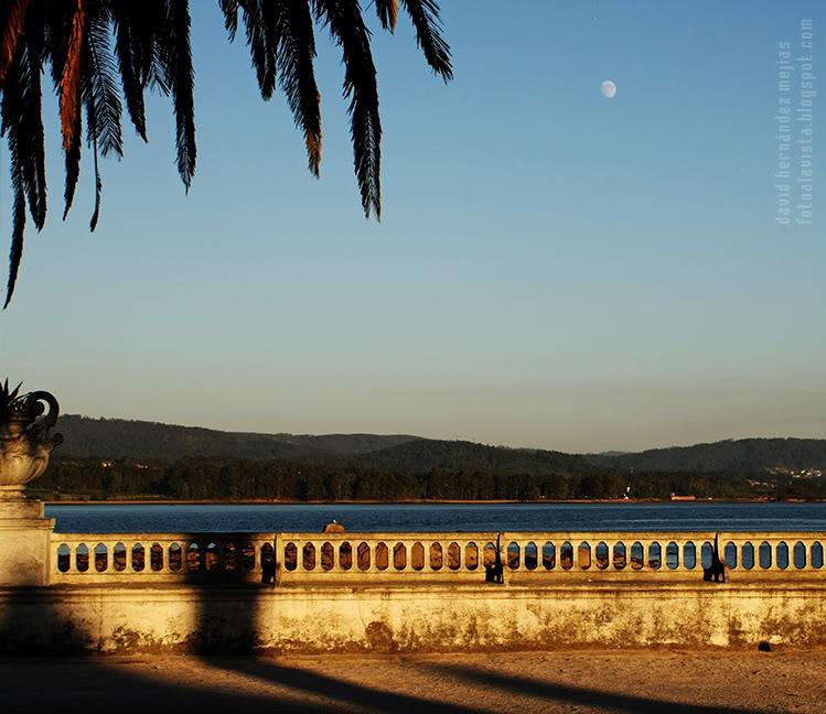 Paseo con balaustrada al mar, palmera y luna al atardecer en la isla de La Toja, Pontevedra, Galicia